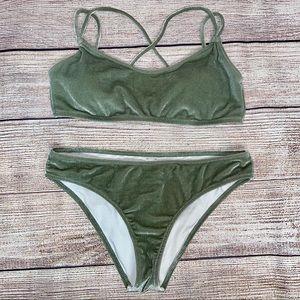 VS Pink Sage Green Velvet Bikini